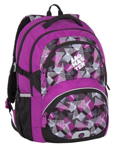 Školní batoh Bagmaster - THEORY 7 A PINK/GREY/BLACK, Doprava zdarma