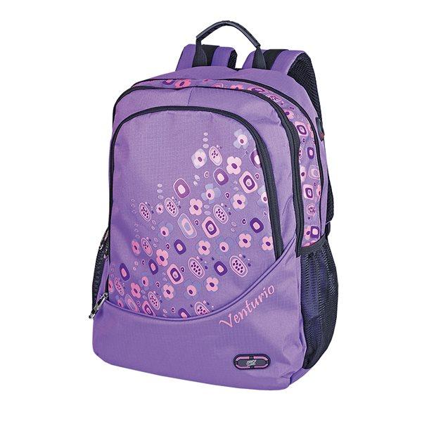 Studentský batoh Easy - Kytky - světle fialový