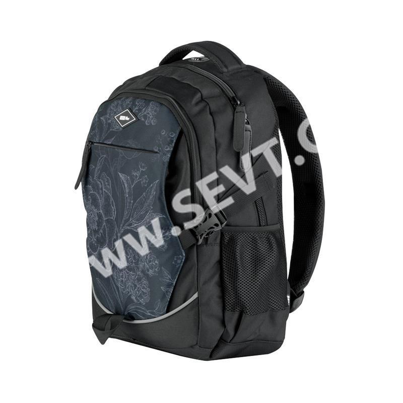 Studentský batoh dvoukomorový Easy - černé květy - SEVT.cz 8b5bf22a3a