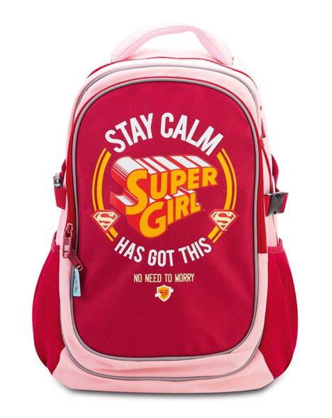 Školní batoh s pončem Supergirl – STAY CALM, Doprava zdarma