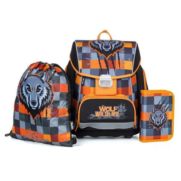 Školní set OXY PREMIUM FLEXI - Vlk (aktovka + penál + sáček)