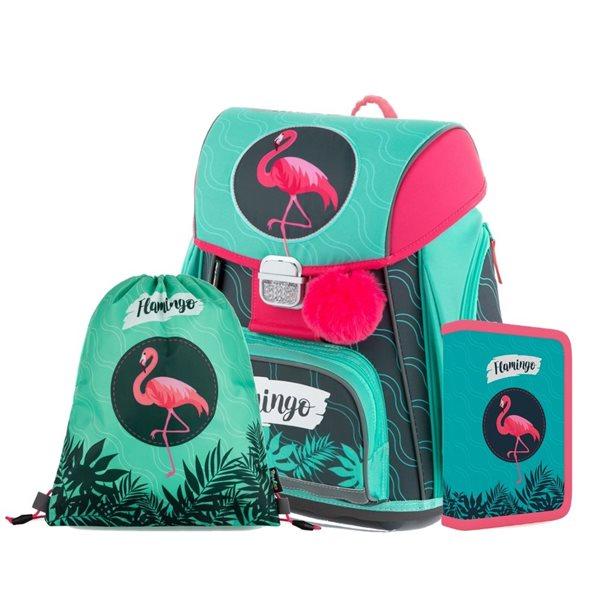 Školní set OXY PREMIUM - Flamingo (aktovka + penál + sáček), Sleva 11%
