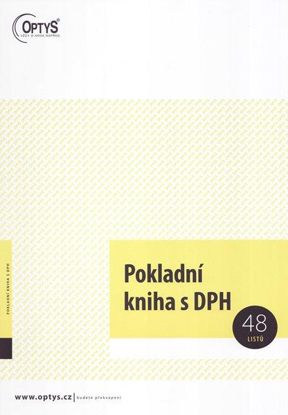 Pokladní kniha s DPH - Nepropisovací tiskopis. Formát A4 na výšku. Žlutá obálka. 48 listů. Nečíslovaný.