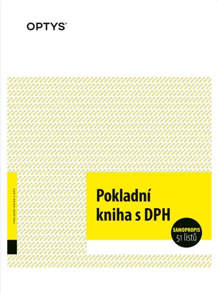 Pokladní kniha /samopropis/ - Samopropisovací tiskopis. Formát A4 na výšku. Žlutá obálka. 2 x 25 lis