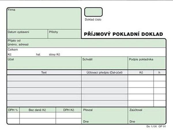 Příjmový pokladní doklad nečíslovaný A6 NCR (2×50l.) - Samopropisující tiskopis, 2× 50 listů, formát