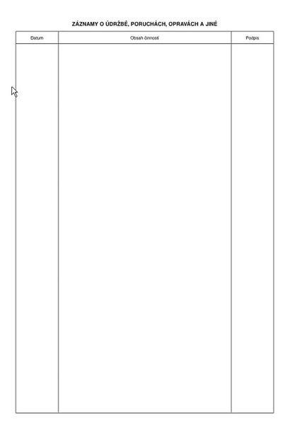 Záznamník o provozu tlakové nádoby OP - Nepropisující tiskopis. Blok 16 listů. Formát A4. Žlutá obálka. Nečíslovaný.