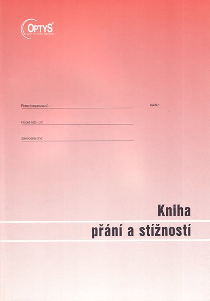 Kniha přání a stížností A4 - Nepropisující tiskopis. Blok 32 listů. Formát A4. Červená obálka. Nečíslovaný.