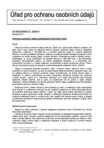 Věstník Úřadu na ochranu osobních údajů 3/2011
