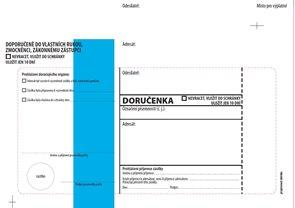 Doručenka modrý pruh Správní řád, s poučením