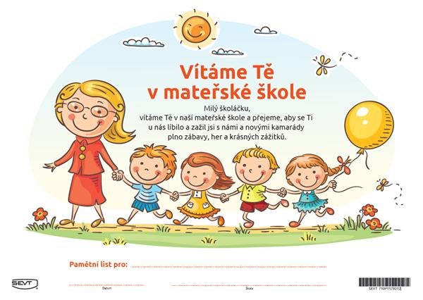 Vítáme Tě v mateřské škole (pamětní list) - A4