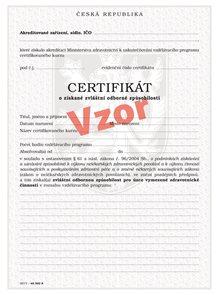 Certifikát o získané zvláštní odborné způsobilosti