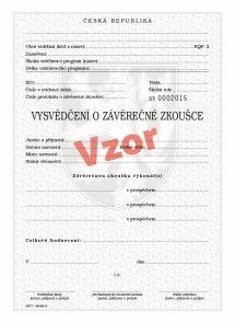 Vysvědčení o závěrečné zkoušce (střední vzdělání)- dvouleté obory pro tisk QR kódu