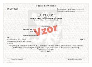Diplom absolventa VOŠ pro tisk QR kódu