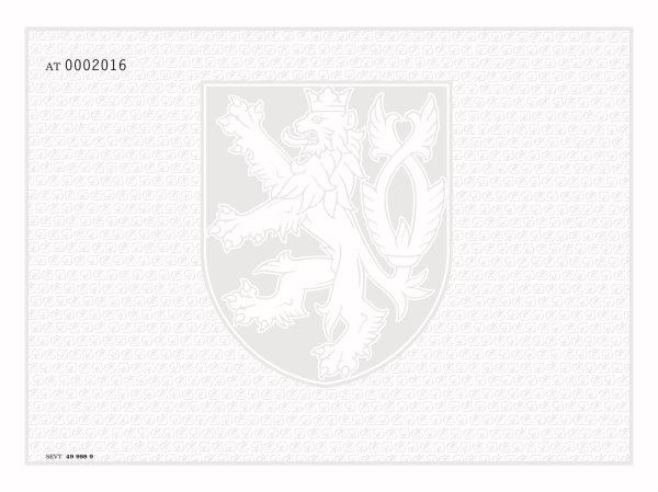 Bianco diplom, výuční list - malý státní znak + lipové listy, číslování, pro tisk QR kódu