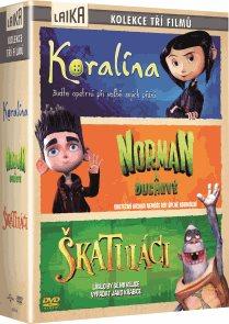 3 DVD Koralína,Norman a duchové, Škatuláci