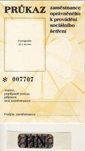 Průkazka zaměstnance oprávněného k provádění sociálního šetření s hologramem