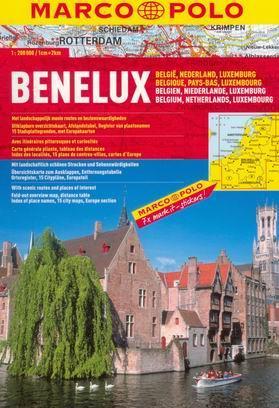Benelux - autoatlas MarcoPolo - 1:200t /Belgie, Nizozemsko, Lucembursko/ - A4, 136 stran, spirálová vazba