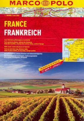 Francie - autoatlas MarcoPolo - 1:300t - A4, 312 stran, spirálová vazba