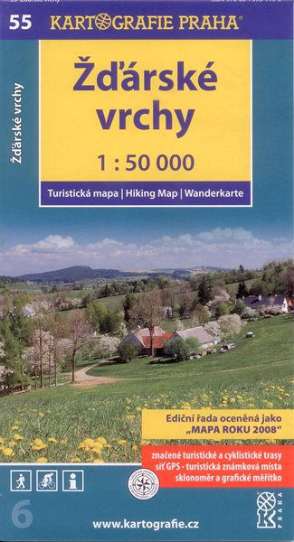 Žďárské vrchy - mapa Kartografie č.55 - 1:50 000