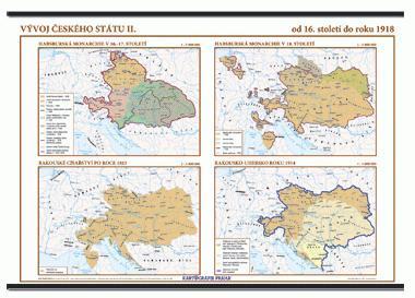 Vývoj českého státu II. (16. stol. - 1918) nástěnná mapa - 1360x960