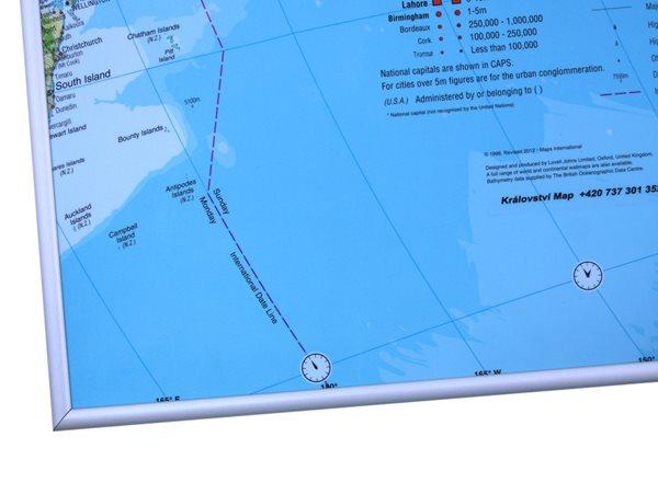 Rámovaný Svět zeměpisný 135 x 85 cm - 135x85, Doprava zdarma