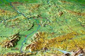 Německo - rámovaná reliéfní plastická mapa 60x80 cm