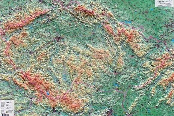Rámovaná Česká republika reliéfní plastická mapa 1:500 tis. - 104 x 74 cm, Doprava zdarma