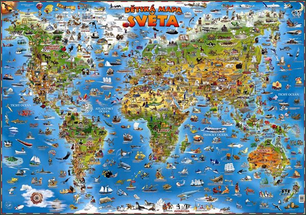 Dětská mapa světa - nástěnná mapa - neuveden - 137x97cm