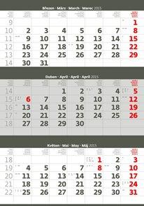 Helma Nástěnný kalendář tříměsíční 31,5x45 cm - šedý