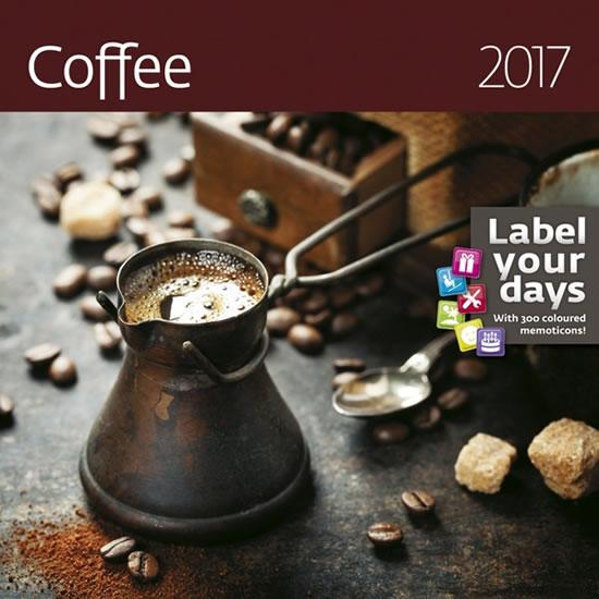 """Kalendář nástěnný 2017 """"label your days"""" - Coffee - neuveden - 30x30 cm"""