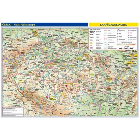Česká republika - školní nástěnná vlastivědná mapa 1:375 tis. - neuveden