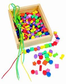 Dřevěná krabička - Navlékací perle
