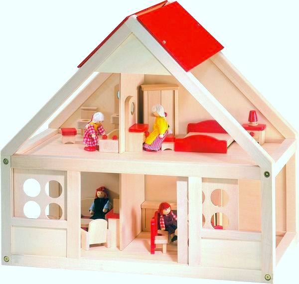Domeček pro panenky, s vybavením 26 ks, Doprava zdarma