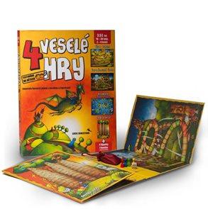 4 veselé hry - Leporelo herních plánů s kostkou a figurkami