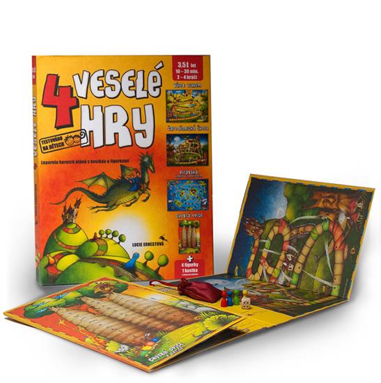 4 veselé hry - Leporelo herních plánů s kostkou a figurkami - Ernestová Lucie - 26,7x34